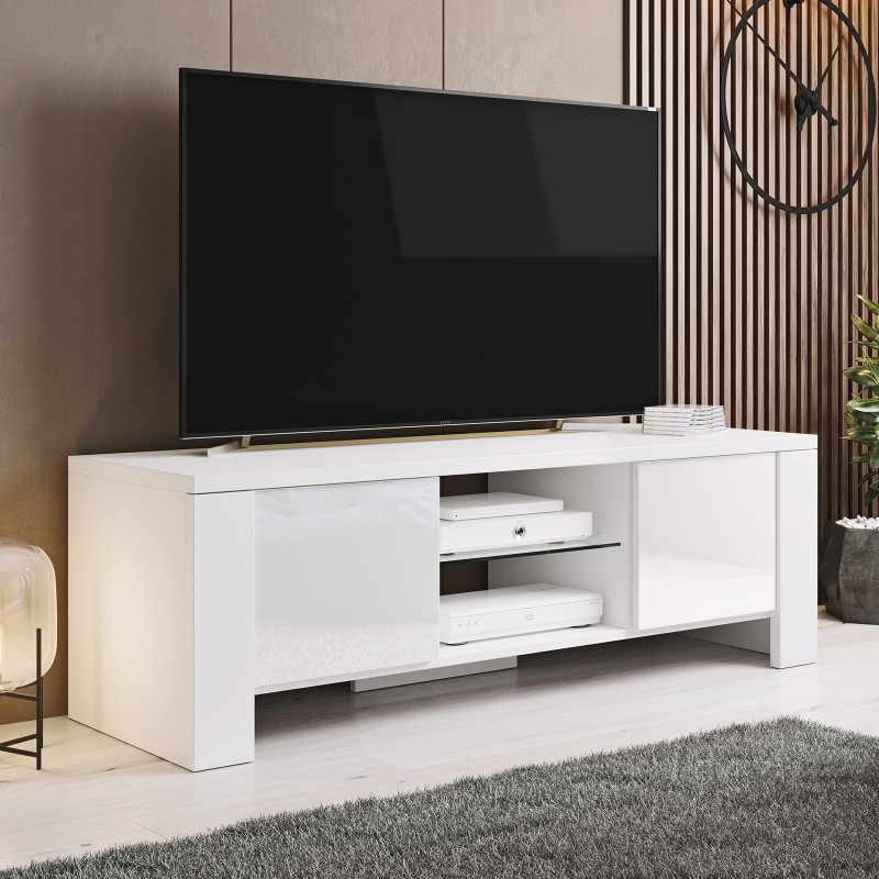 Bmf West Tv Stand 130cm Wide White High Gloss Modern Regarding Orsen Wide Tv Stands (View 12 of 20)