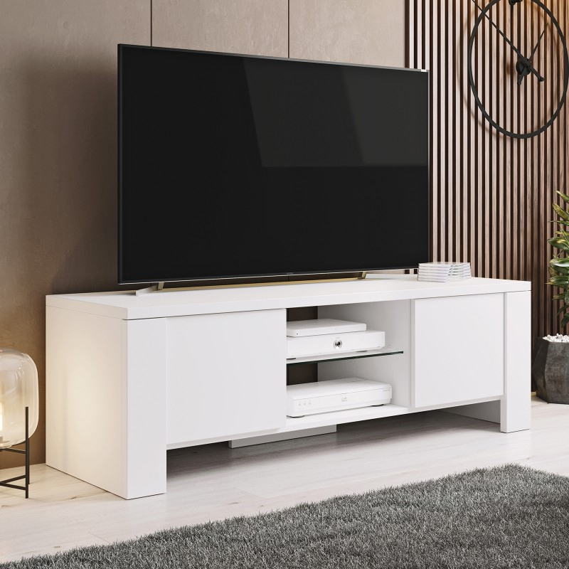 Bmf West Tv Stand 130cm Wide White Matt Modern Living Room Pertaining To Harbor Wide Tv Stands (View 8 of 20)