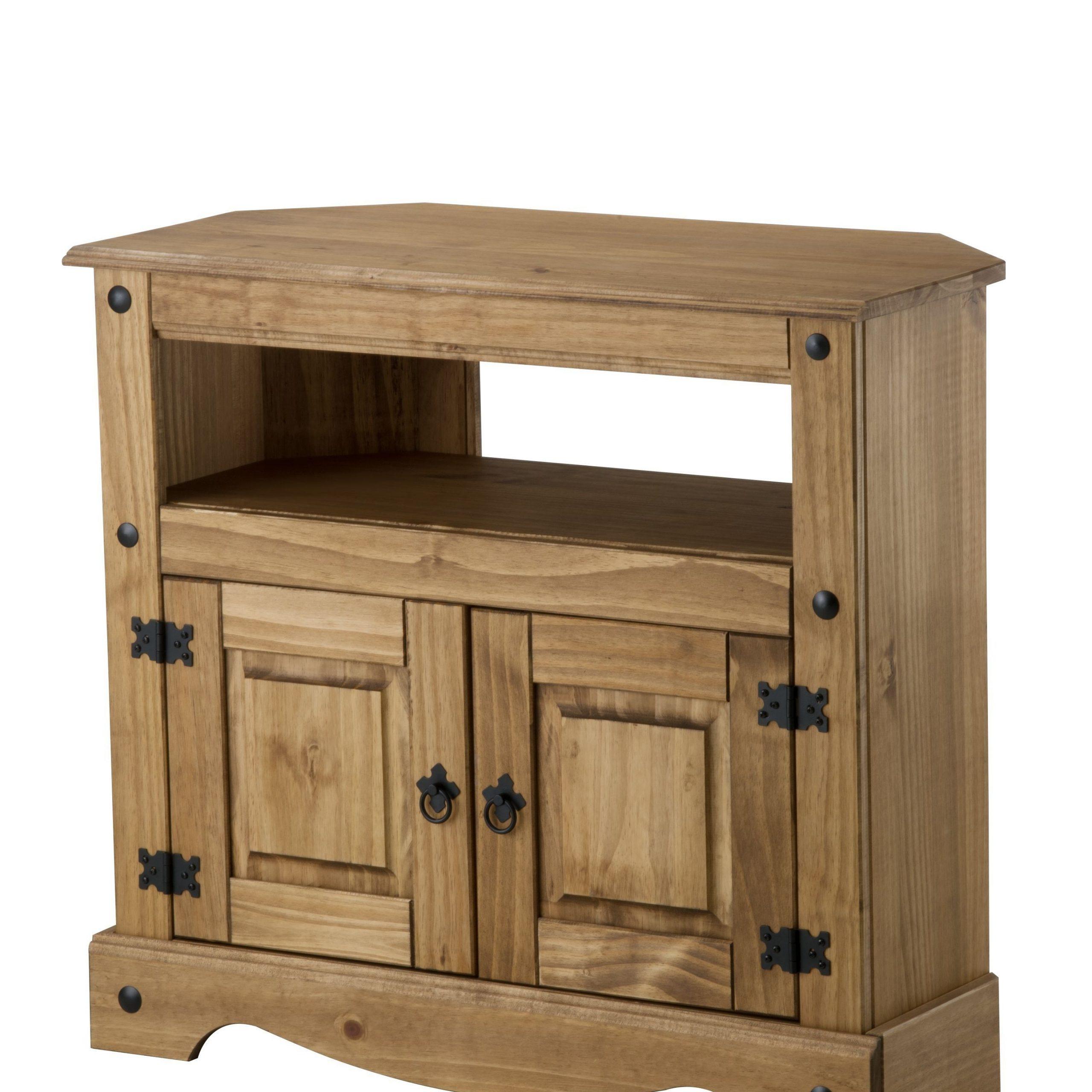 Bonsoni Pine Corona Corner Tv Cabinet   Interior For Corona Corner Tv Stands (View 3 of 20)