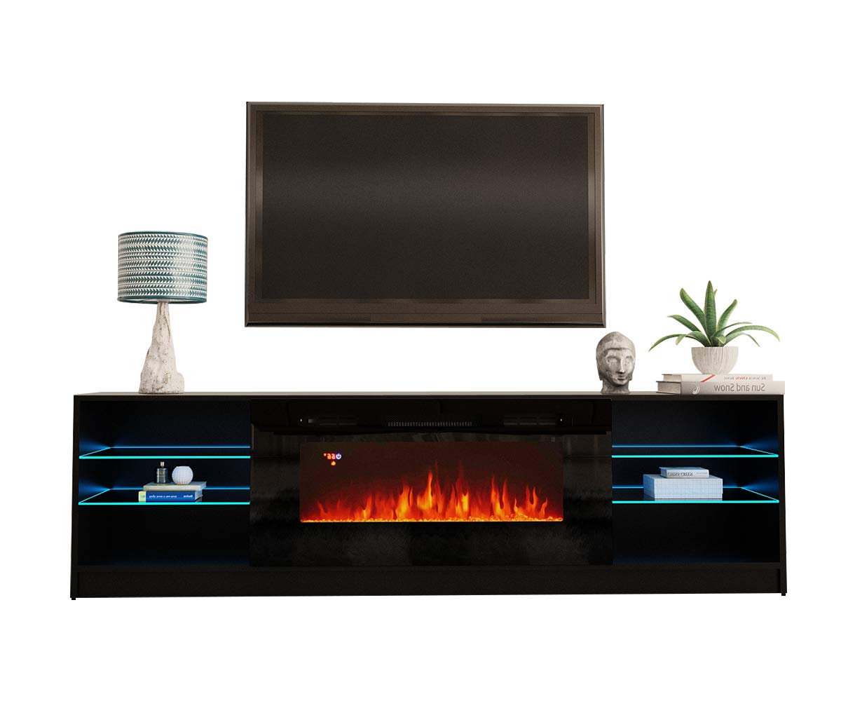 """Boston 01 Electric Fireplace Modern 79"""" Tv Stand – Walmart Throughout Boston Tv Stands (View 1 of 20)"""