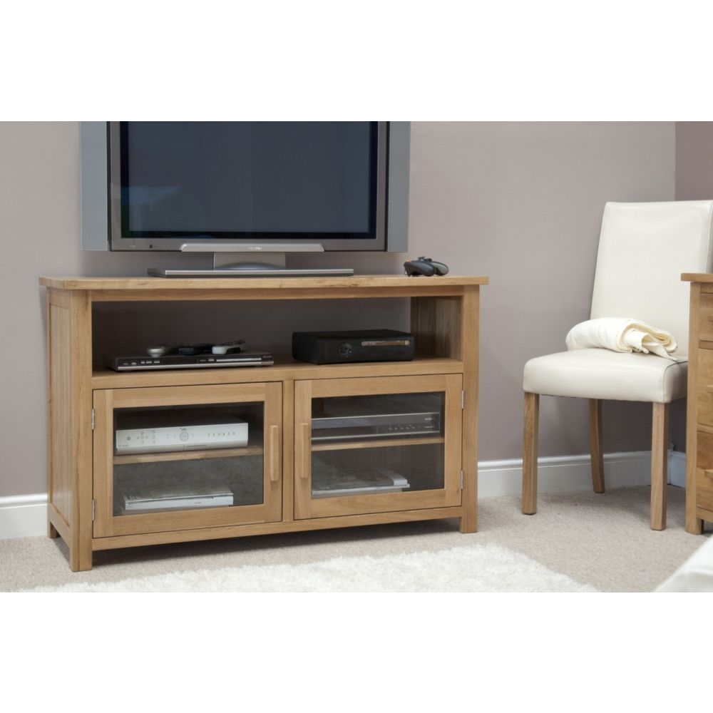 Boston Tv Cabinet Stand Entertainment Unit Solid Oak For Boston Tv Stands (View 7 of 20)