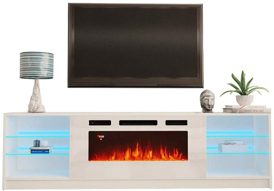 """Boston Wh01 Electric Fireplace Modern 79"""" Tv Stand Pertaining To Boston Tv Stands (View 3 of 20)"""