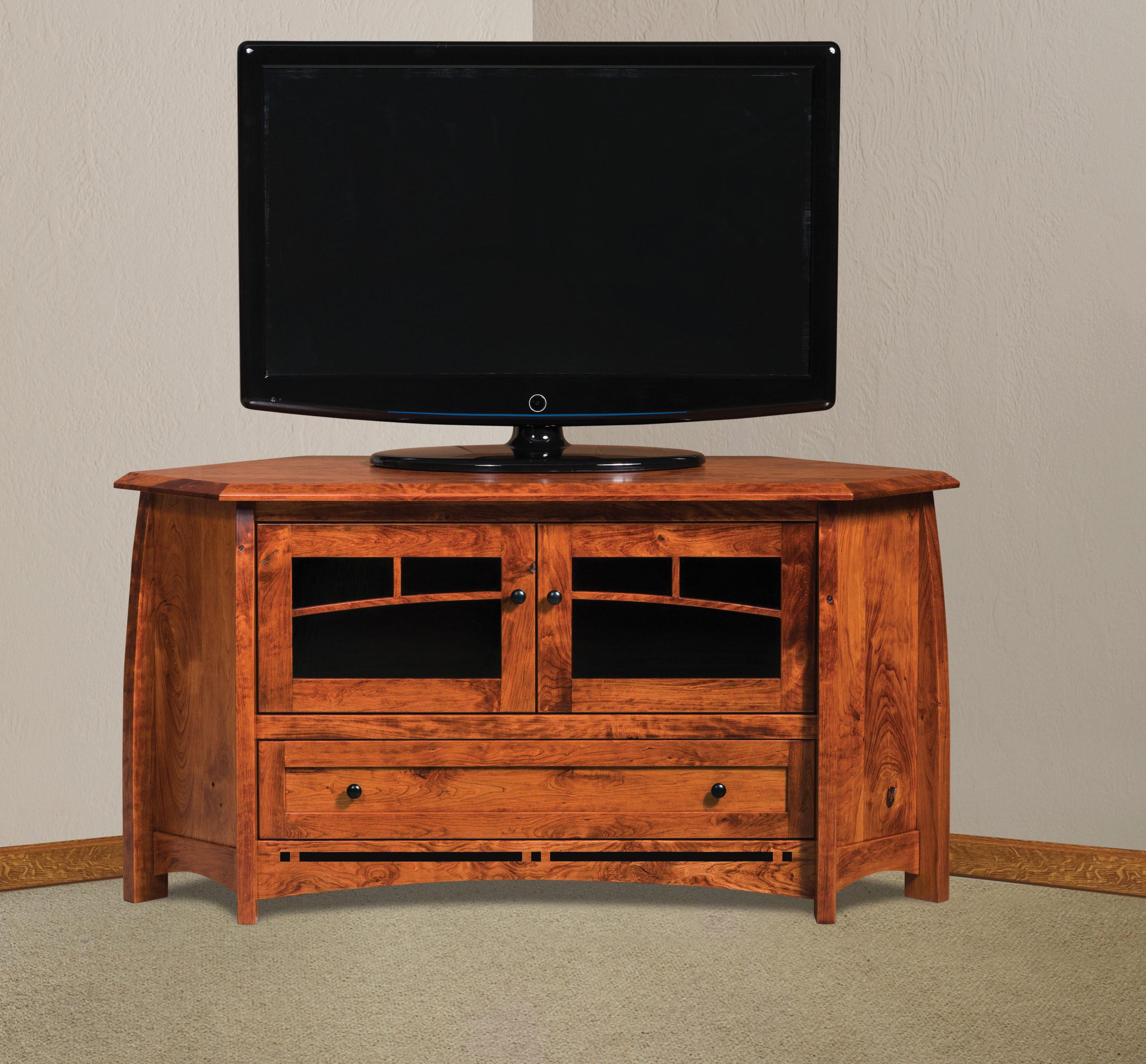 Boulder Creek Corner Tv Stand | Amish Solid Wood Tv Stands Inside Priya Corner Tv Stands (View 1 of 20)