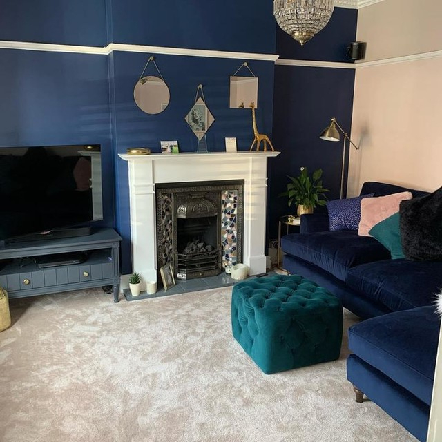 Bourbon Vintage Tv Stand, Slate Blue & Brass | Made Pertaining To Bromley Slate Corner Tv Stands (View 17 of 20)