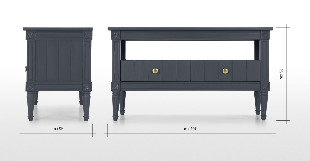 Bourbon Vintage Tv Stand, Slate Blue & Brass | Made Pertaining To Bromley Slate Corner Tv Stands (View 4 of 20)