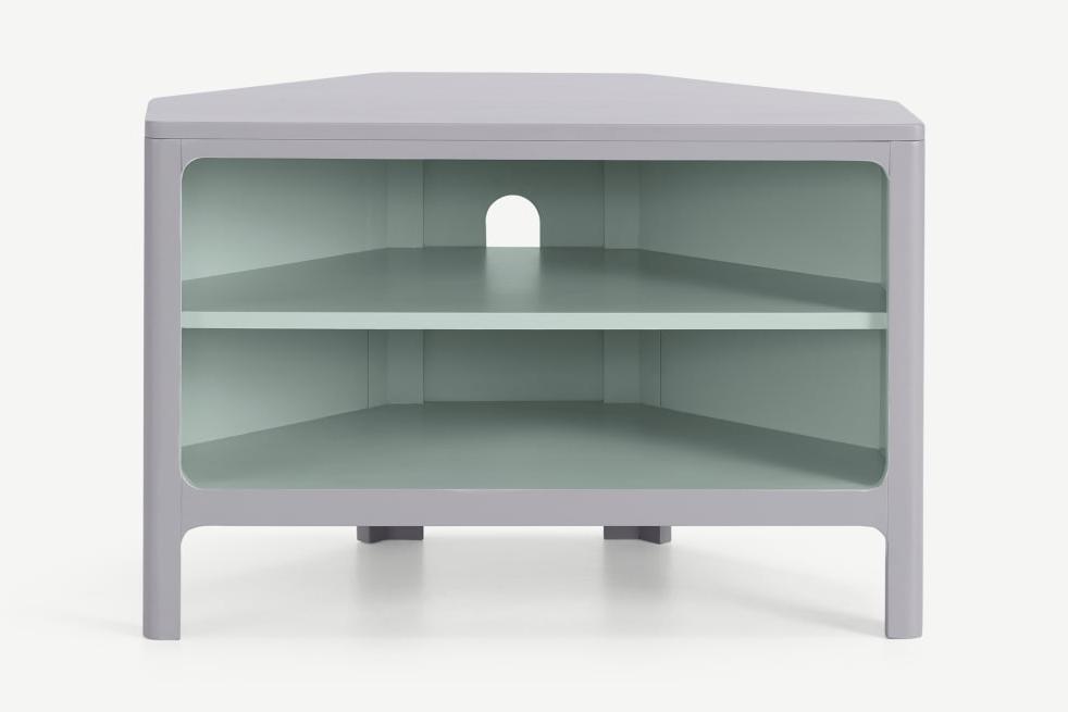 Bromley Corner Media Unit, Grey & Mint   Made For Bromley Oak Corner Tv Stands (View 9 of 20)