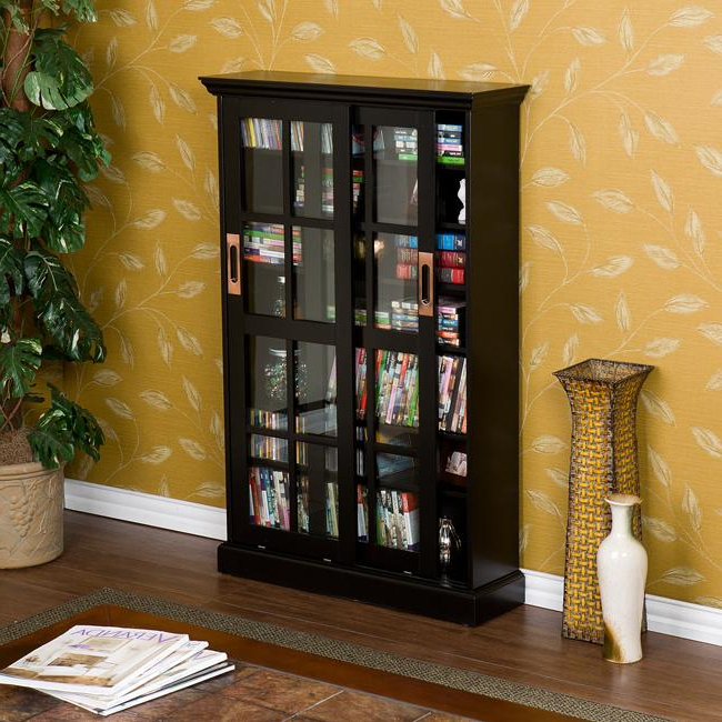 Bronson Black Sliding Door Media Storage Cabinet – Free For Dark Brown Tv Cabinets With 2 Sliding Doors And Drawer (View 17 of 20)