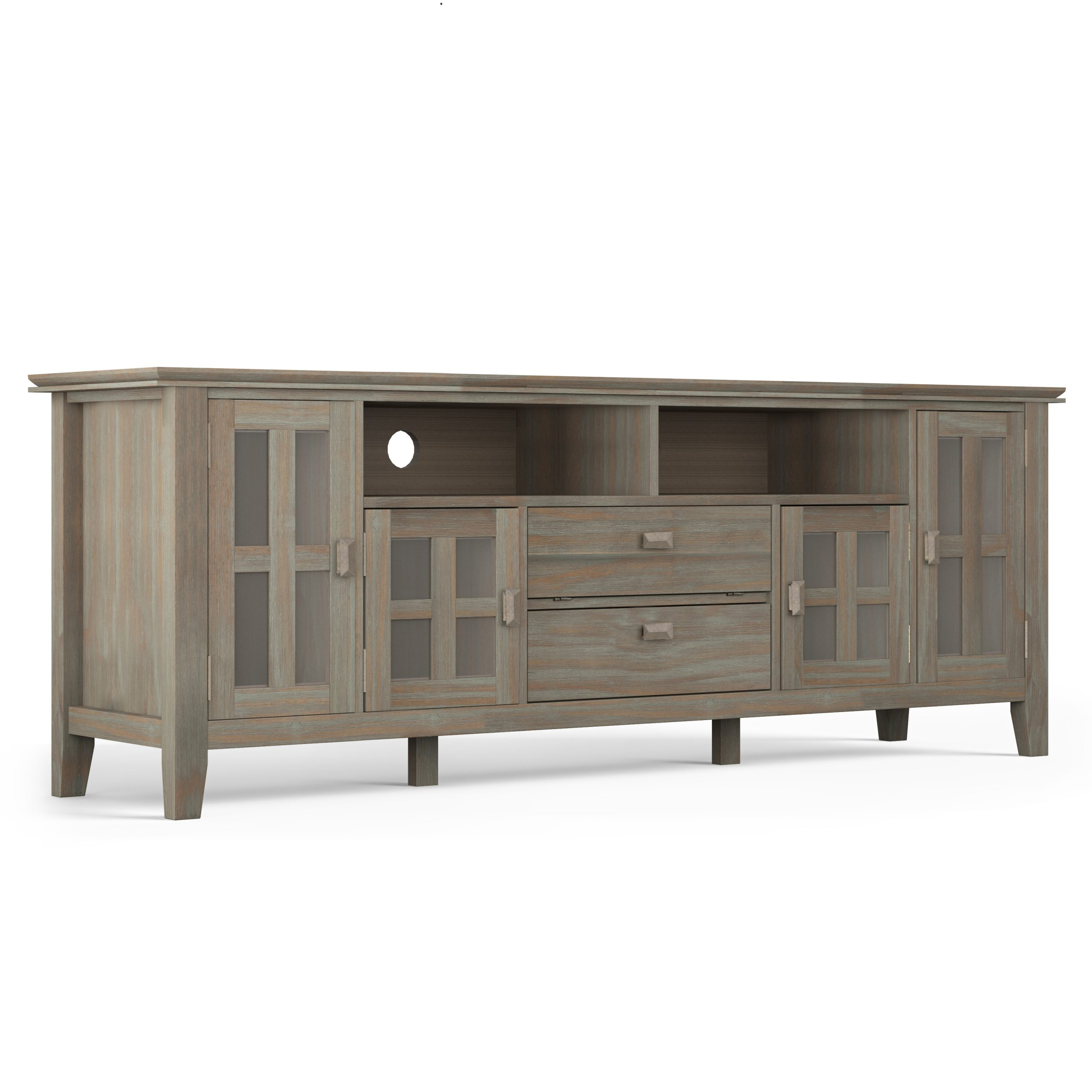 Brooklyn + Max Holden Solid Wood 72 Inch Wide Contemporary Inside Bromley Extra Wide Oak Tv Stands (View 2 of 20)
