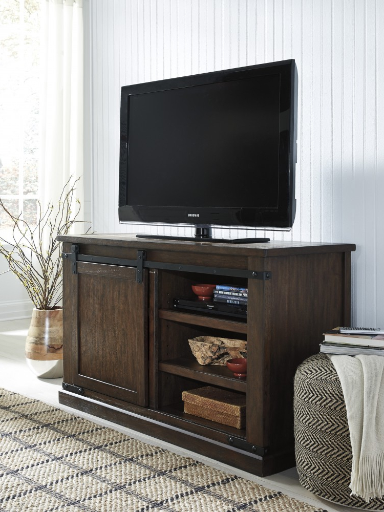 Budmore – Rustic Brown – Medium Tv Stand   W562 28   Tv Inside Modern Black Tv Stands On Wheels With Metal Cart (View 3 of 20)
