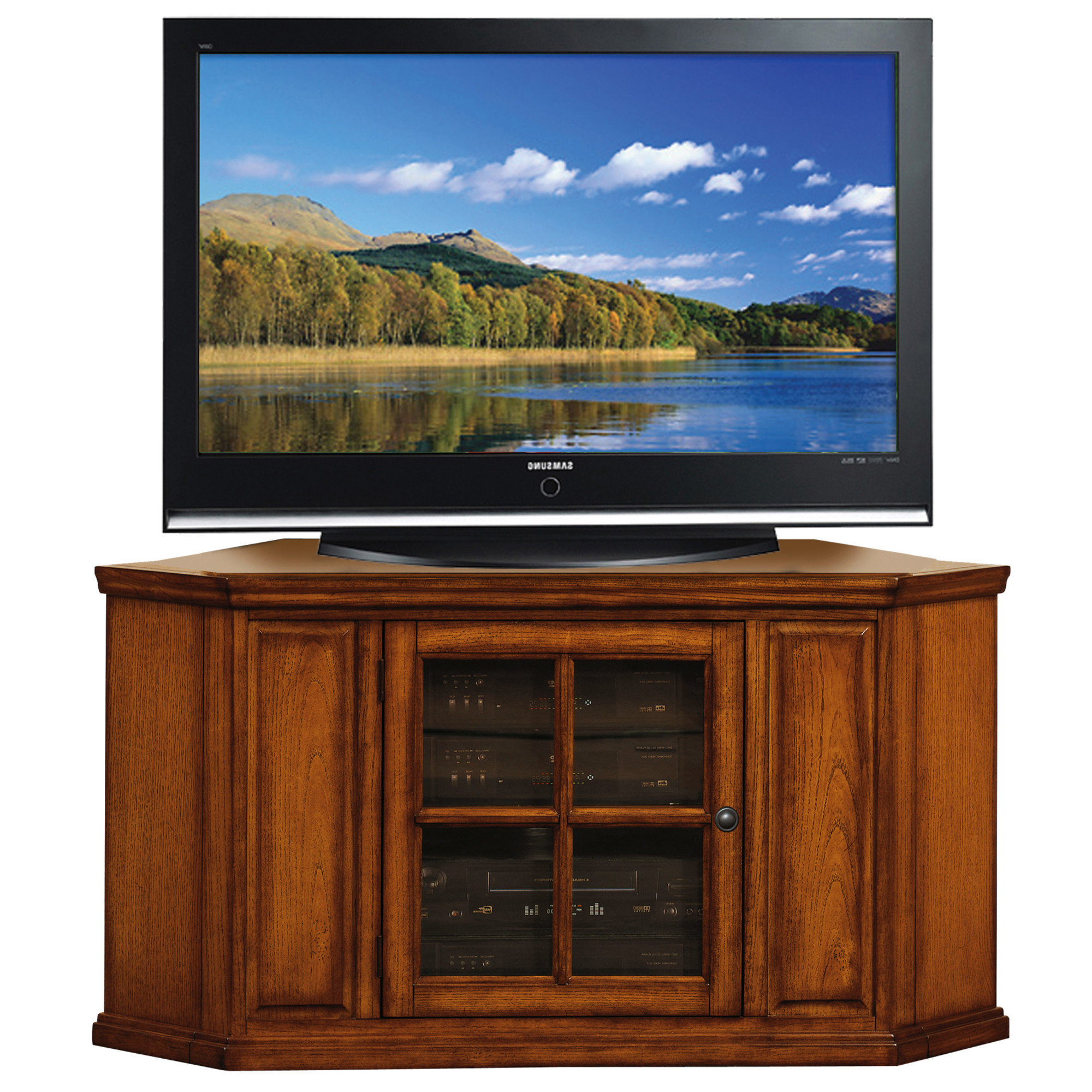 """Burnished Oak Corner Tv Stand For 50"""" Tv's #88285 For Sidmouth Oak Corner Tv Stands (View 7 of 20)"""