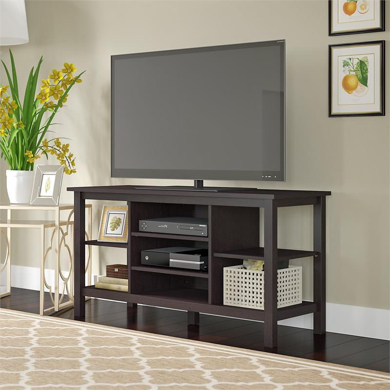 """Bush Furniture Broadview Tv Stand In Espresso Oak For Tv's With Regard To Spellman Tv Stands For Tvs Up To 55"""" (View 3 of 20)"""