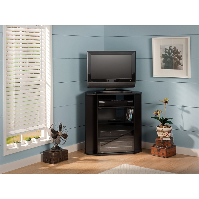 """Bush Furniture Visions Tall Corner Tv Stand In Black For Glass Doors Corner Tv Stands For Tvs Upto 42"""" (View 11 of 20)"""