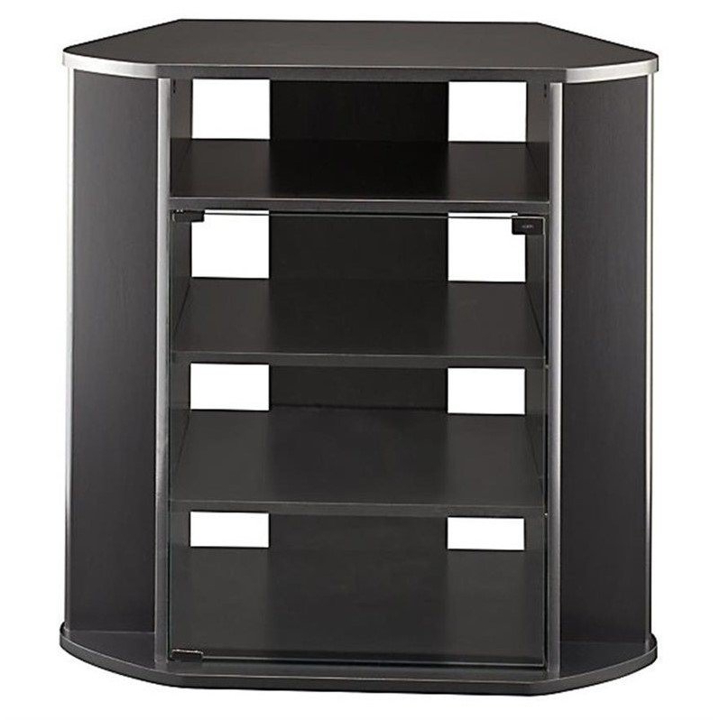 Bush Myspace Visions Tall Corner Black Finish Tv Stand   Ebay Regarding Modern 2 Glass Door Corner Tv Stands (View 15 of 20)