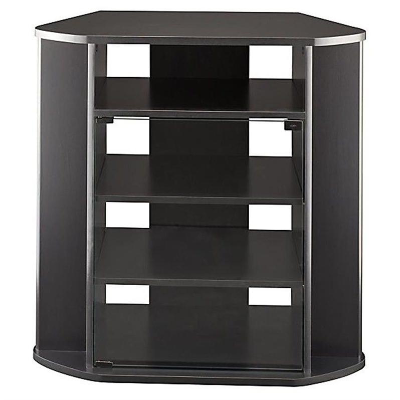 Bush Myspace Visions Tall Corner Black Finish Tv Stand | Ebay Throughout Modern 2 Glass Door Corner Tv Stands (View 15 of 20)