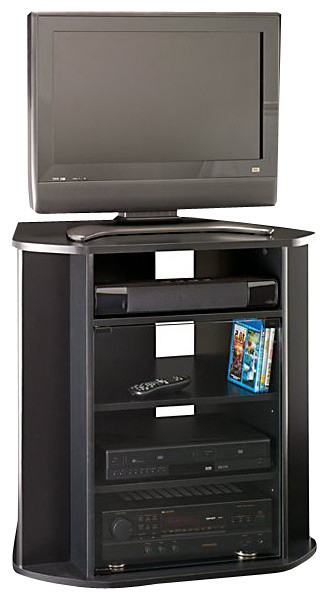 Bush – Tall Corner Tv Stand, Black Finish – View In Your In Zena Corner Tv Stands (View 11 of 20)