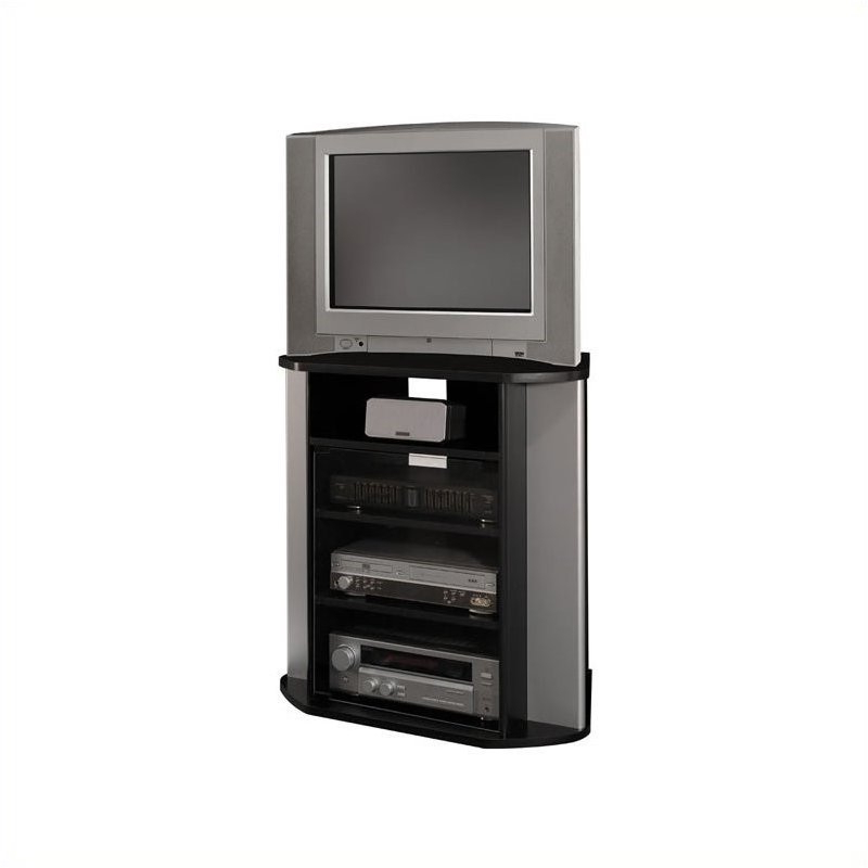 """Bush Visions 31"""" Corner Tv Stand In Black And Silver Metal Intended For Conrad Metal/glass Corner Tv Stands (View 18 of 20)"""