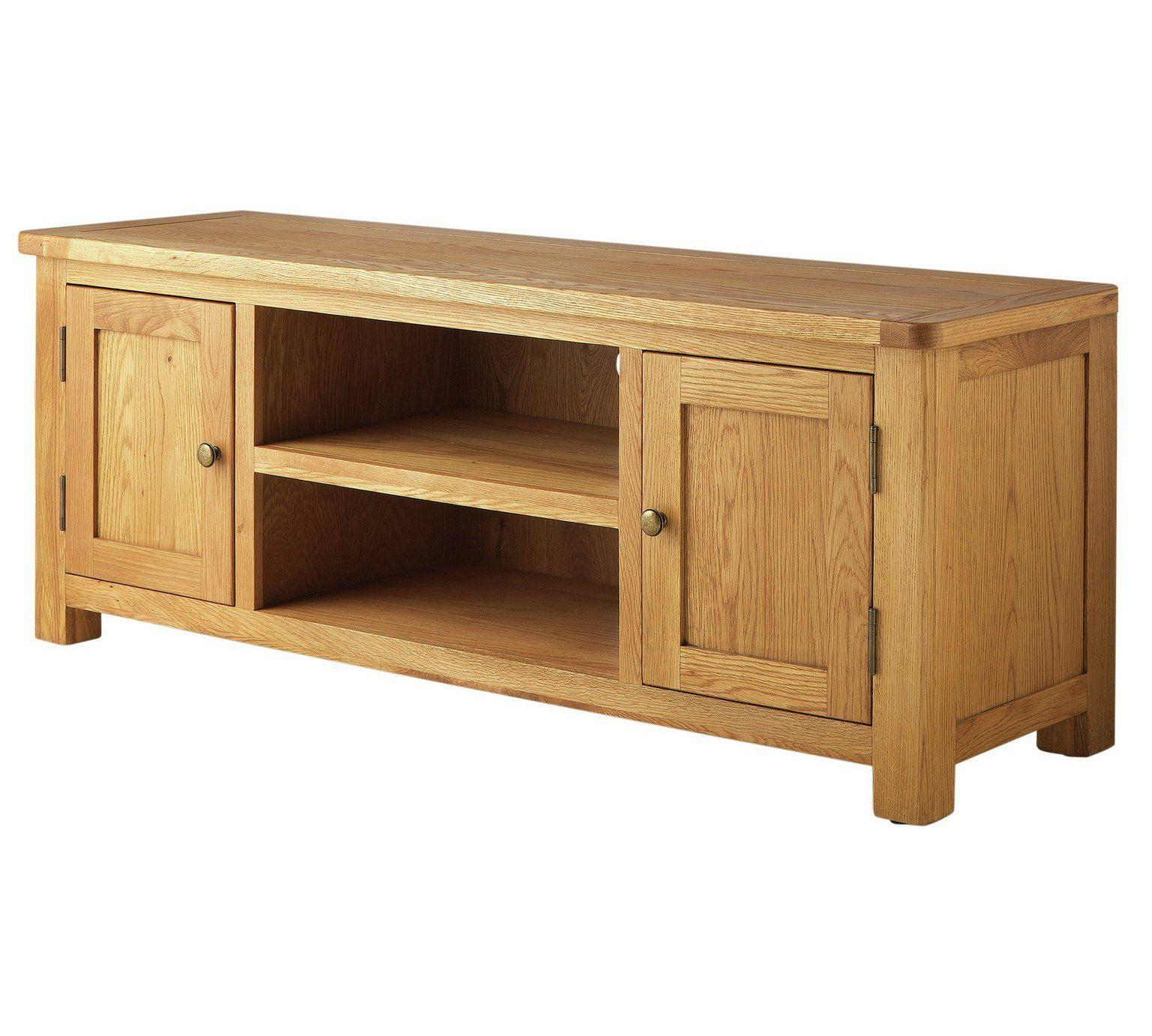 Buy Argos Home Kent Large Solid Oak & Oak Veneer Tv Bench In Bromley Oak Tv Stands (View 7 of 20)