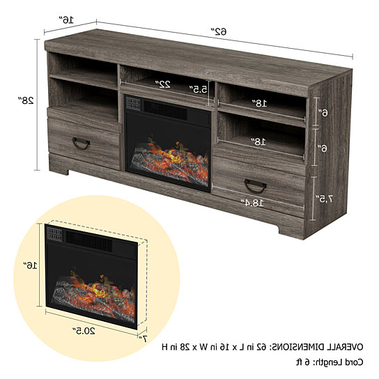 Buy Electric Fireplace Tv Console Media Shelves Two With Tv Stands Cabinet Media Console Shelves 2 Drawers With Led Light (View 15 of 20)