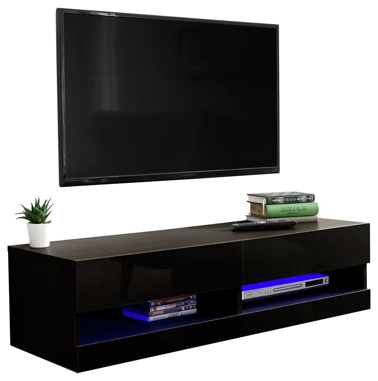 Buy Galicia 120cm Led Wall Tv Unit – Black   Tv Units Inside Galicia 180cm Led Wide Wall Tv Unit Stands (View 14 of 20)