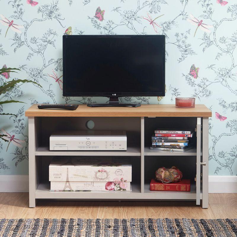 Buy Lancaster Tv Unit Grey & Oak 1 Door 2 Shelf Small Inside Lancaster Large Tv Stands (View 14 of 20)