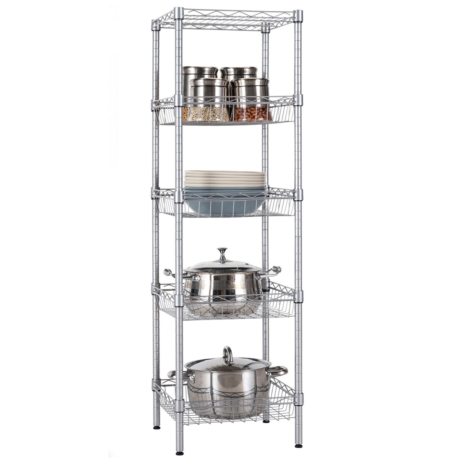 Buy Langria 5 Tier Wire Shelving Unit With Baskets, Free With Large Rolling Tv Stands On Wheels With Black Finish Metal Shelf (View 16 of 20)