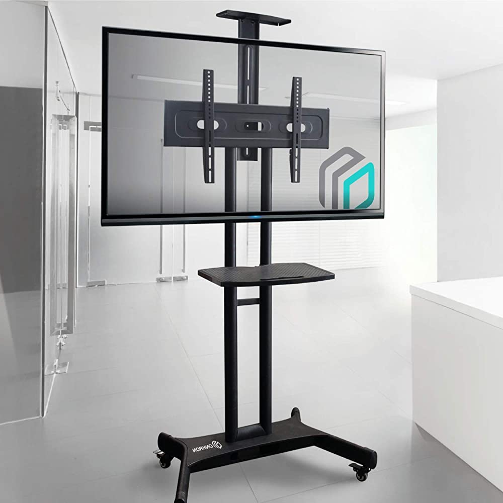 Buy Onkron Mobile Tv Stand With Mount Rolling Tv Cart For Inside Rolling Tv Stands With Wheels With Adjustable Metal Shelf (View 6 of 20)