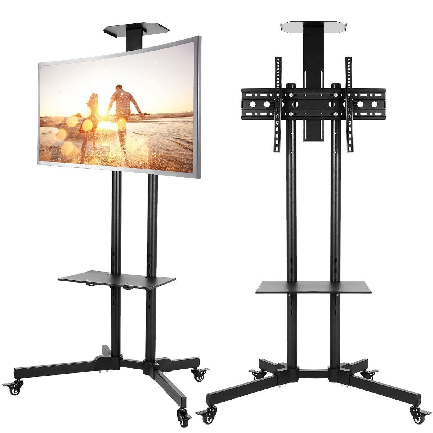 Buy Portable Tv Stand With Wheels For Lcd, Plasma Or Led In Rolling Tv Stands With Wheels With Adjustable Metal Shelf (View 4 of 20)