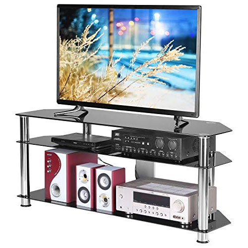 Buy Rfiver Corner Glass Tv Stand With Cable Management For Intended For Tv Stands With Cable Management (View 14 of 20)