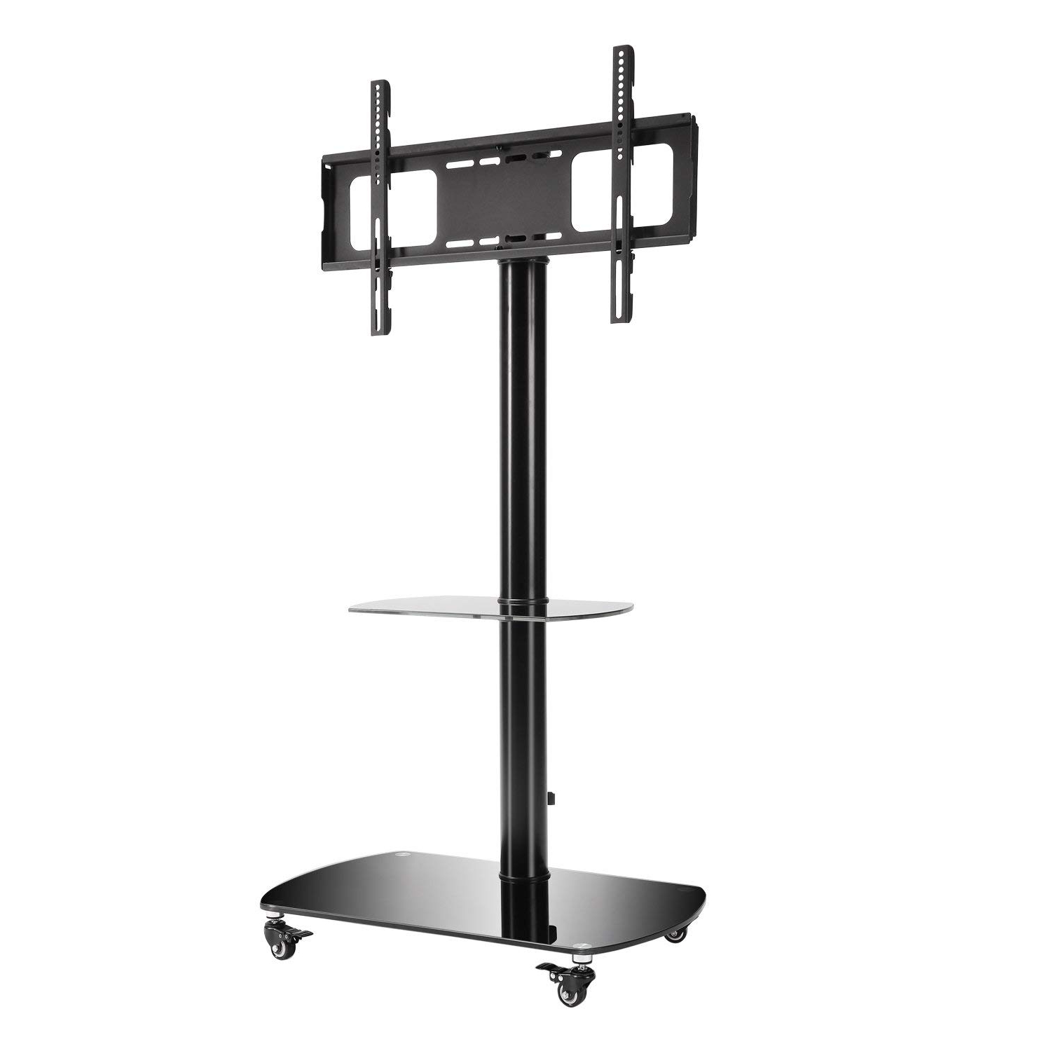 Buy Rfiver Mobile Tv Floor Stand/cart With Shelves And Inside Mobile Tv Stands With Lockable Wheels For Corner (View 18 of 20)