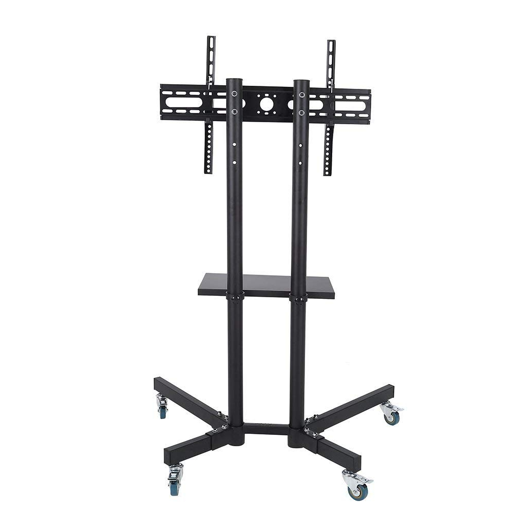 Buy Rfiver Mobile Tv Floor Stand/cart With Shelves And Within Mobile Tv Stands With Lockable Wheels For Corner (View 17 of 20)