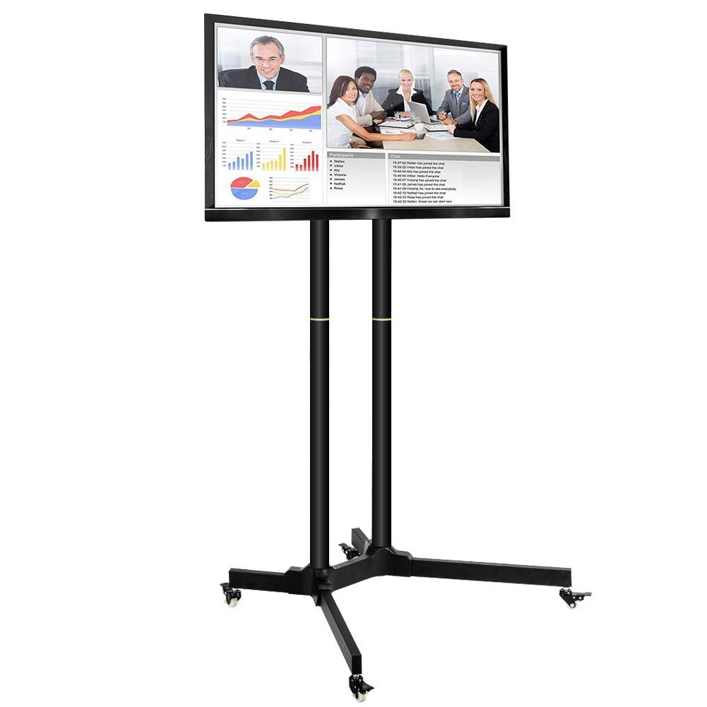 Buy Toolsempire Height Adjustable Mobile Tv Cart Rolling Regarding Rolling Tv Stands With Wheels With Adjustable Metal Shelf (View 3 of 20)