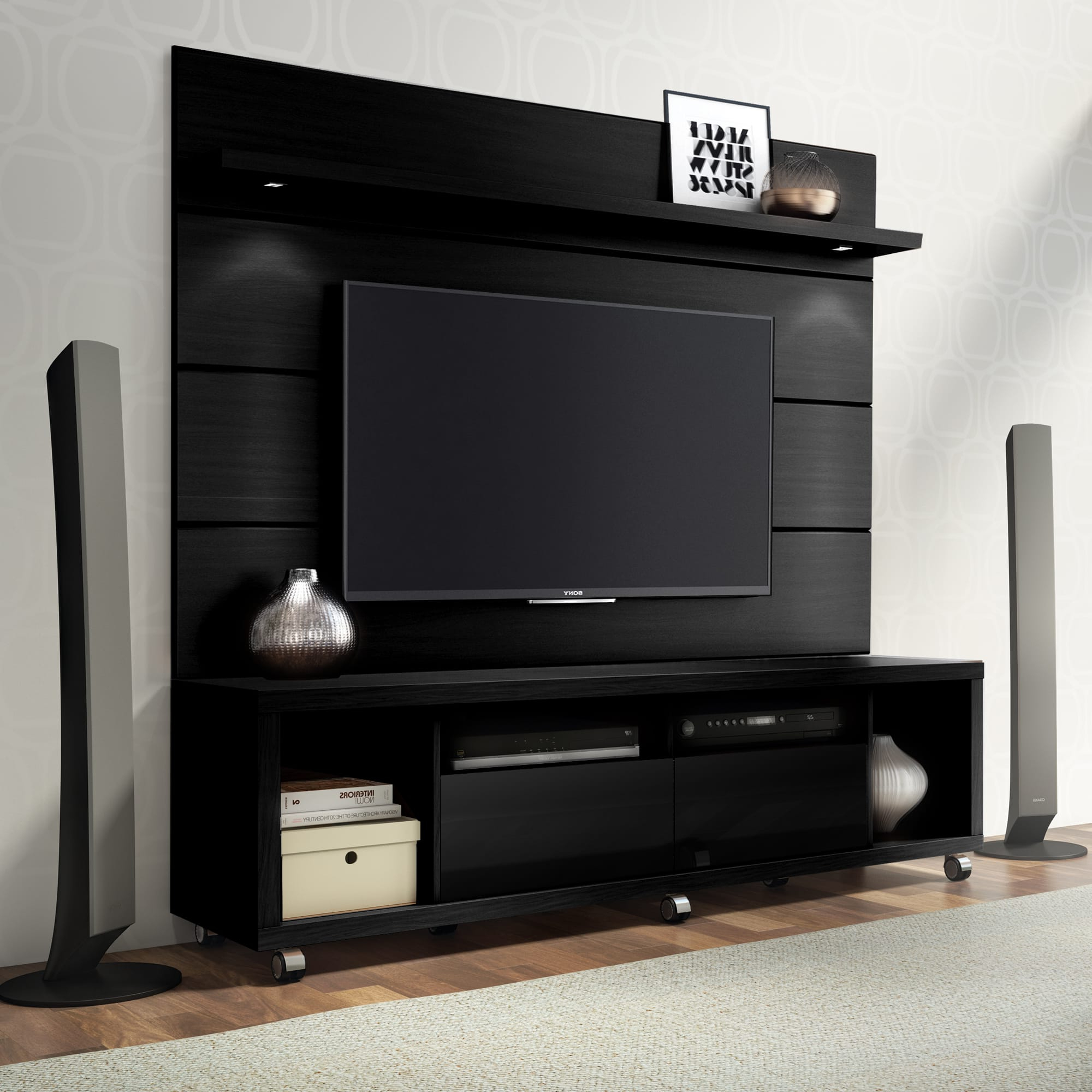 Cabrini Black Tv Stand & Floating Wall Tv Panel W/ (View 3 of 20)