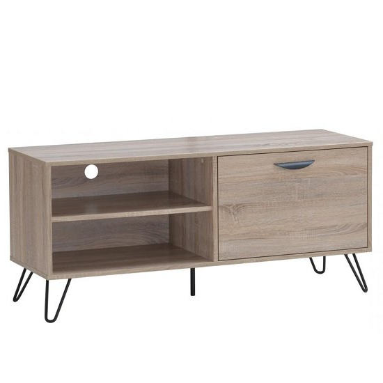 Canell Wooden Tv Stand In Oak Effect With Black Metal Legs Within Claudia Brass Effect Wide Tv Stands (View 2 of 20)