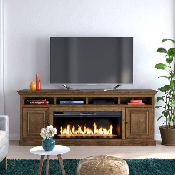 """Canora Grey Kromer Tv Stand For Tvs Up To 88"""" With Throughout Chicago Tv Stands For Tvs Up To 70"""" With Fireplace Included (View 17 of 20)"""