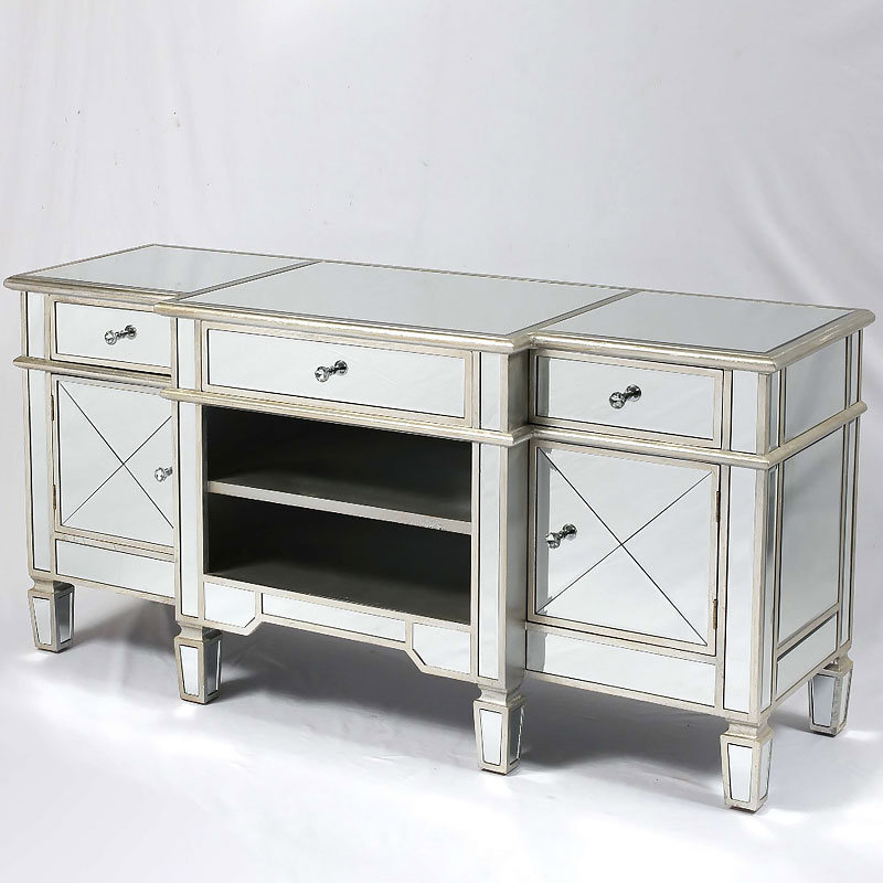 Canterbury Silver Mirrored Venetian Media Entertainment With Fitzgerald Mirrored Tv Stands (View 6 of 20)