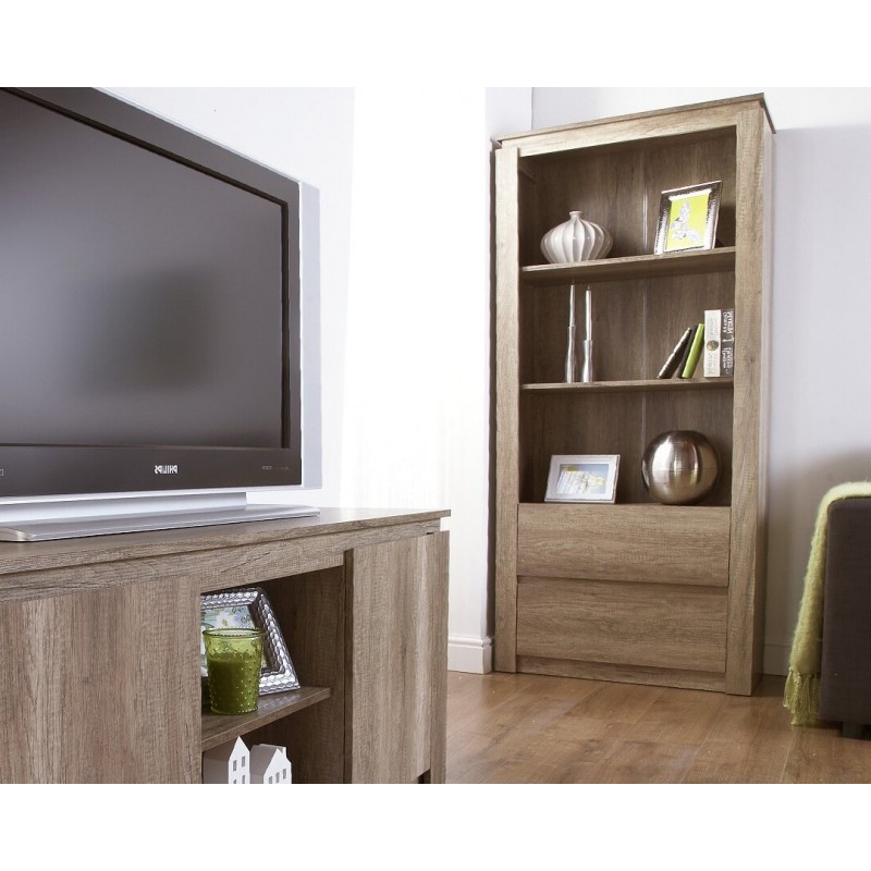Canyon Oak 3d Effect Bookcase Downstairs Range With Regard To Canyon Oak Tv Stands (View 4 of 20)