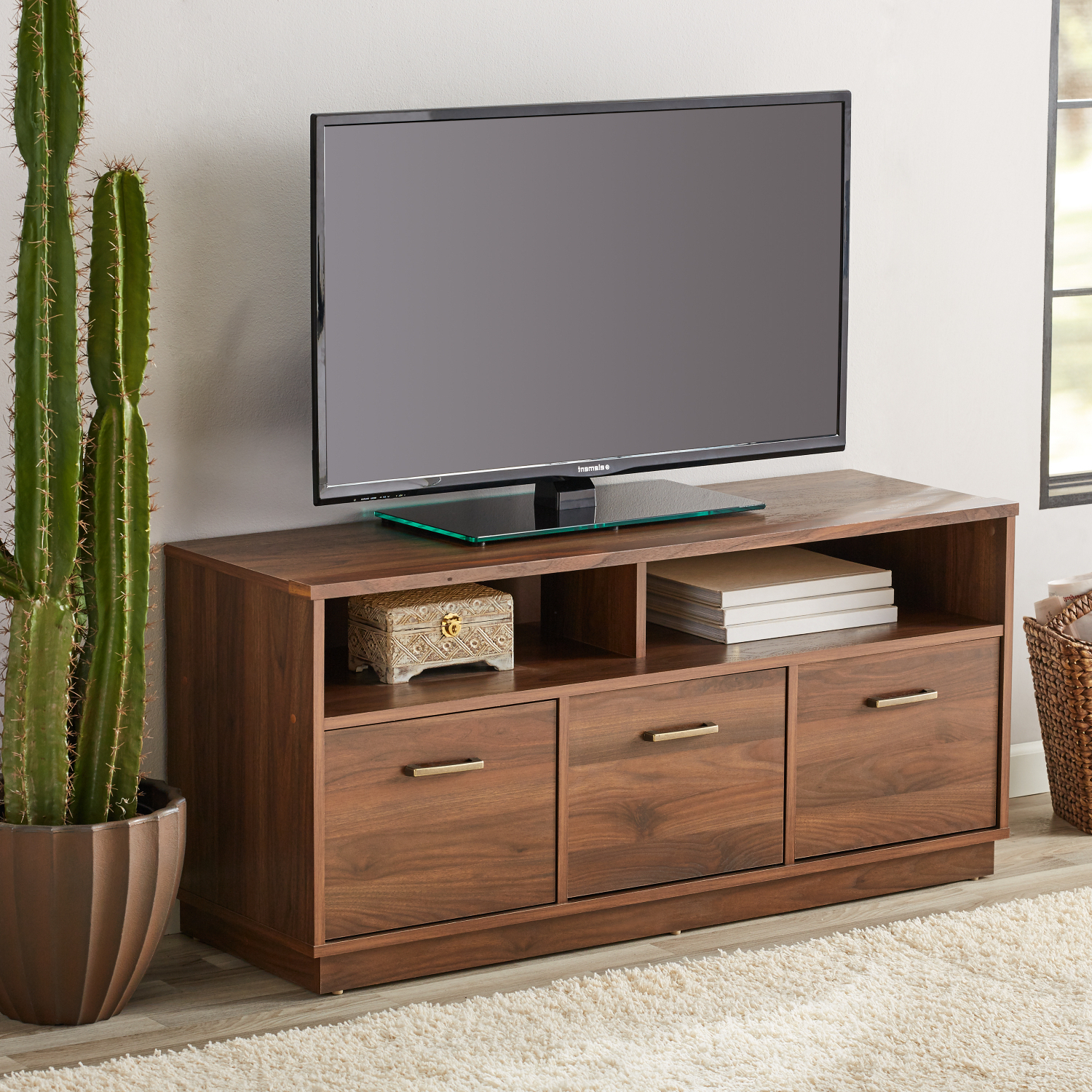 """Canyon Walnut 3 Door Tv Stand Console For Tvs Up To 50 Regarding Leonid Tv Stands For Tvs Up To 50"""" (View 2 of 20)"""