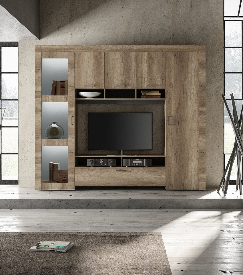 Capri Modern Tv Wall Set In Canyon Oak Finish With Led With Regard To Canyon Oak Tv Stands (View 12 of 20)