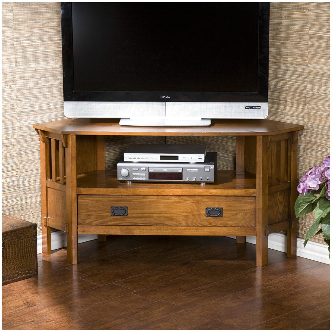 Carson Oak Corner Media Stand – 579128, Entertainment Throughout Corner Entertainment Tv Stands (View 12 of 20)