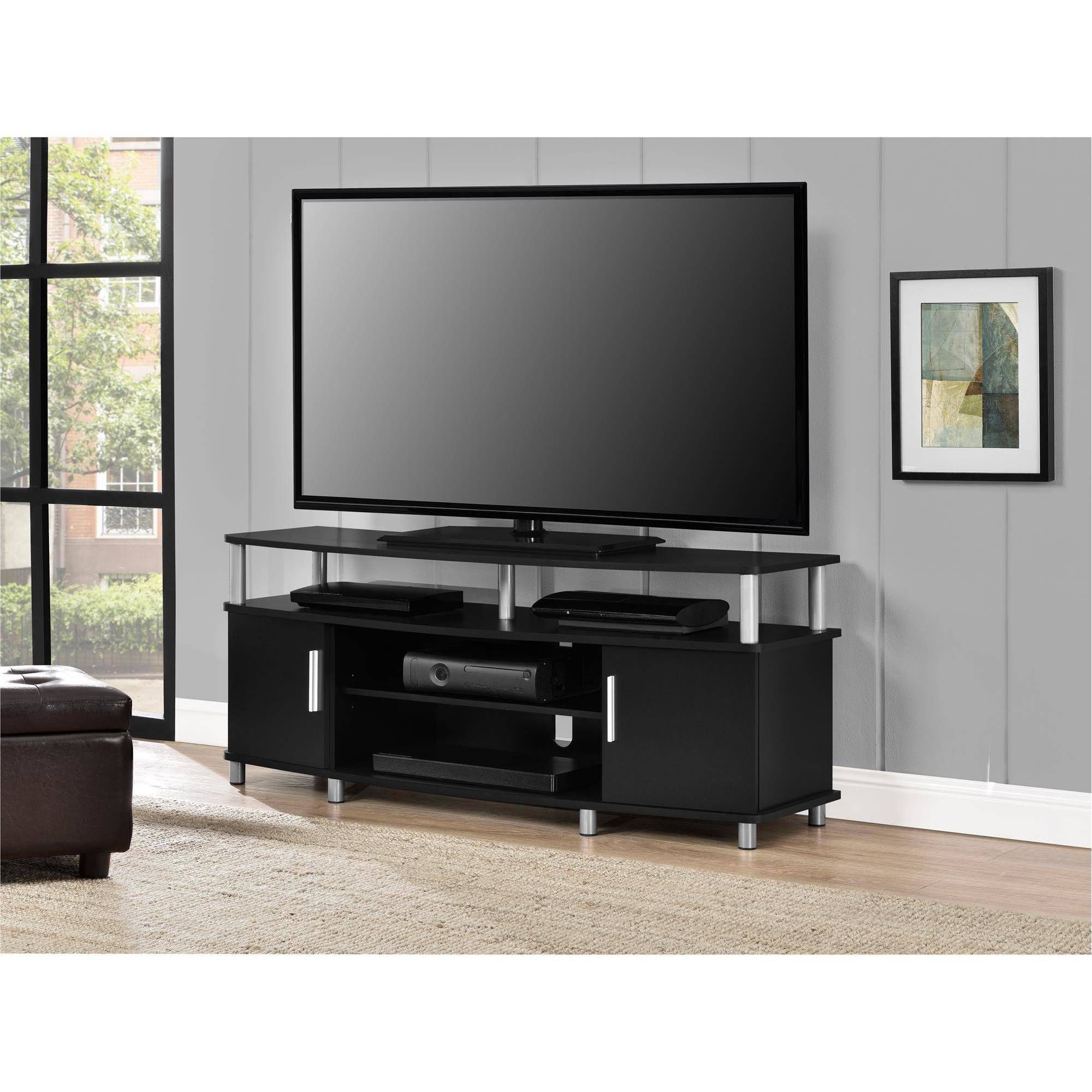 """Carson Tv Stand For Tvs Up To 50"""" Wide, Black – Walmart With Regard To Oliver Wide Tv Stands (View 4 of 20)"""