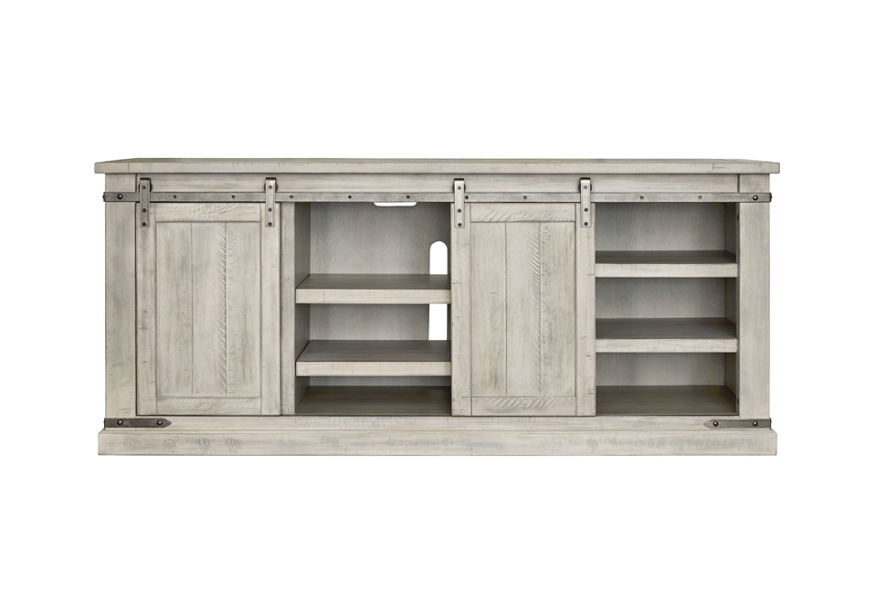 Carynhurst Whitewash Extra Large Tv Stand | Cincinnati Throughout Claudia Brass Effect Wide Tv Stands (View 9 of 20)