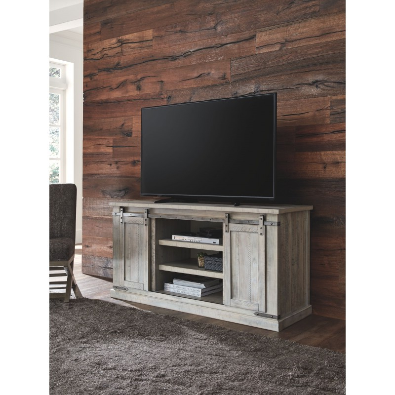 Carynhurst – Whitewash – Large Tv Stand Within Claudia Brass Effect Wide Tv Stands (View 6 of 20)