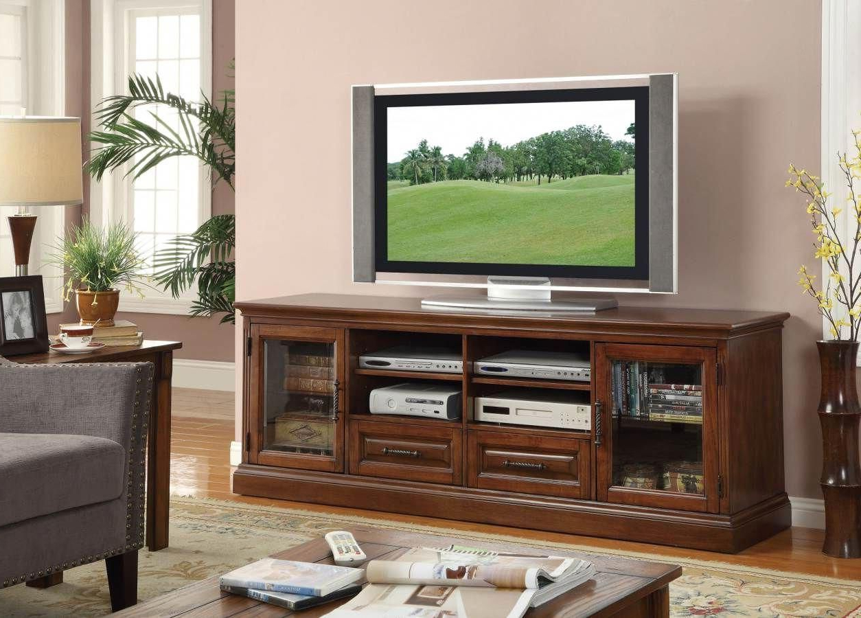 """Casual Brown Wood And Glass 70' Tv Stand #coasterfurniture With Regard To Glass Tv Stands For Tvs Up To 70"""" (View 10 of 20)"""