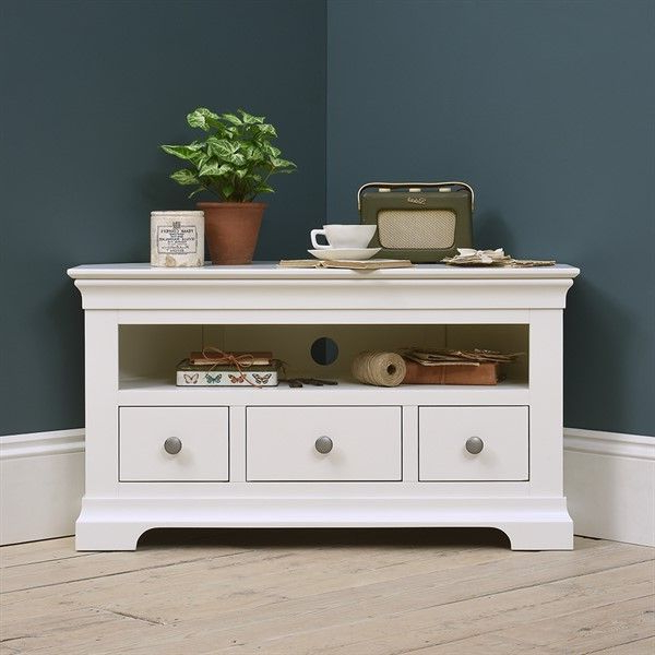 """Chantilly White Corner Tv Stand – Up To 45"""" – The Cotswold Within Cotswold Widescreen Tv Unit Stands (View 18 of 20)"""