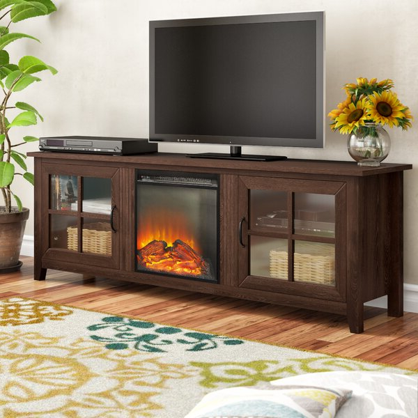 """Charlton Home® Dake Tv Stand For Tvs Up To 78"""" With With Chicago Tv Stands For Tvs Up To 70"""" With Fireplace Included (View 7 of 20)"""