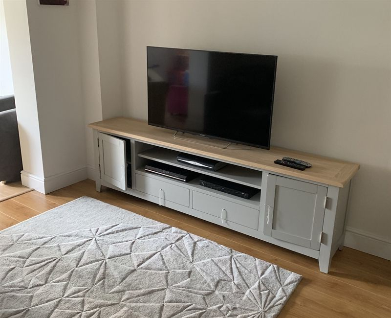 Chester Grey Extra Large Tv Stand – Up To ''99 – The Inside Cotswold Widescreen Tv Unit Stands (View 15 of 20)