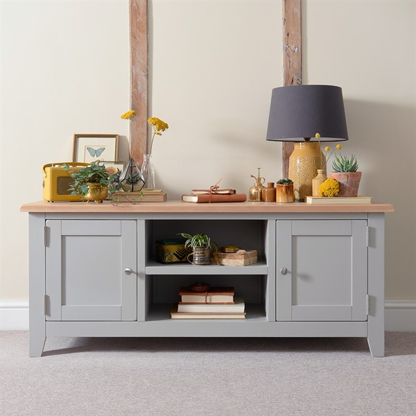 """Chester Grey Widescreen Tv Unit – Up To 65"""" – The Cotswold With Penelope Dove Grey Tv Stands (View 7 of 20)"""
