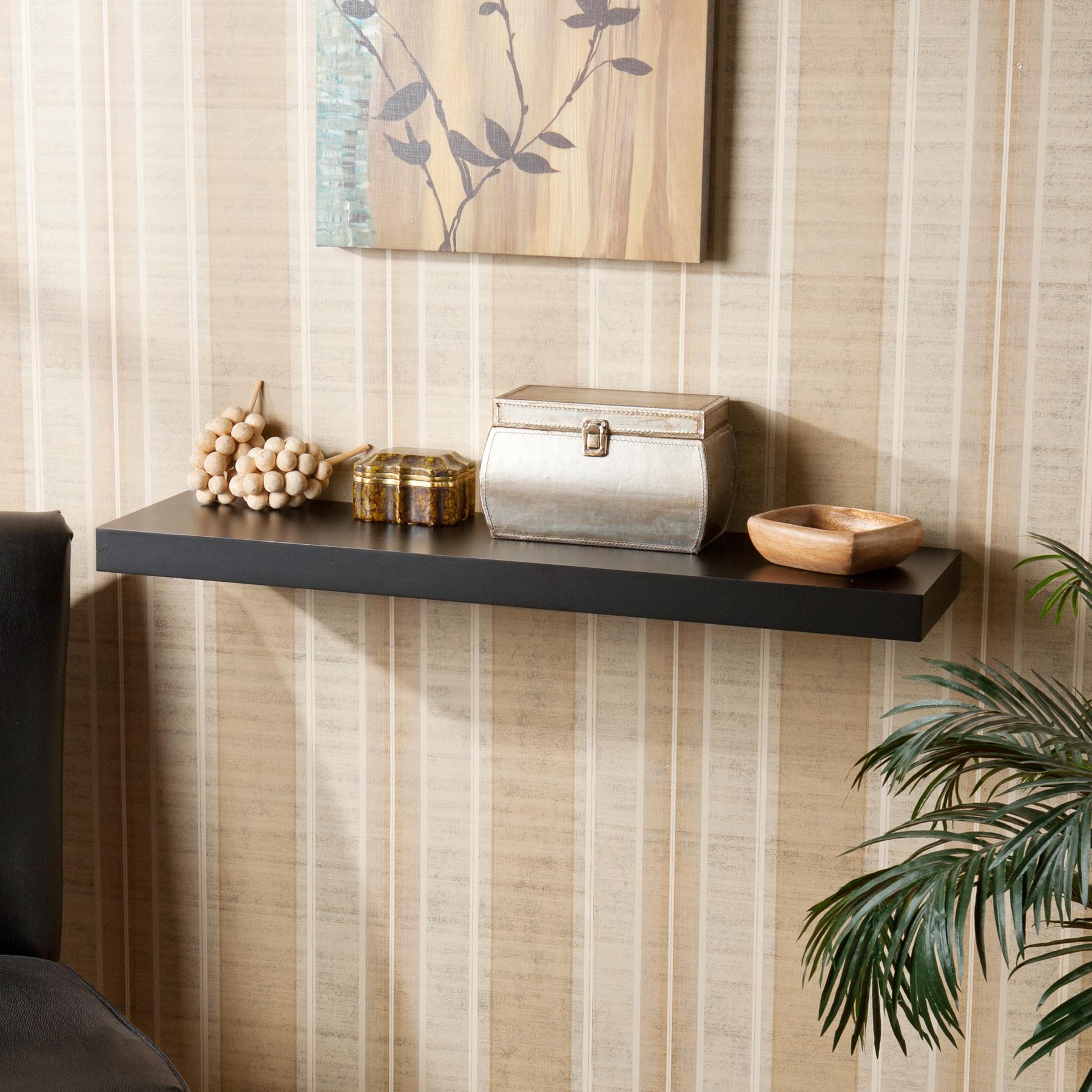 Chicago Floating Shelf 36 – Black Regarding Modern Mobile Rolling Tv Stands With Metal Shelf Black Finish (View 16 of 20)