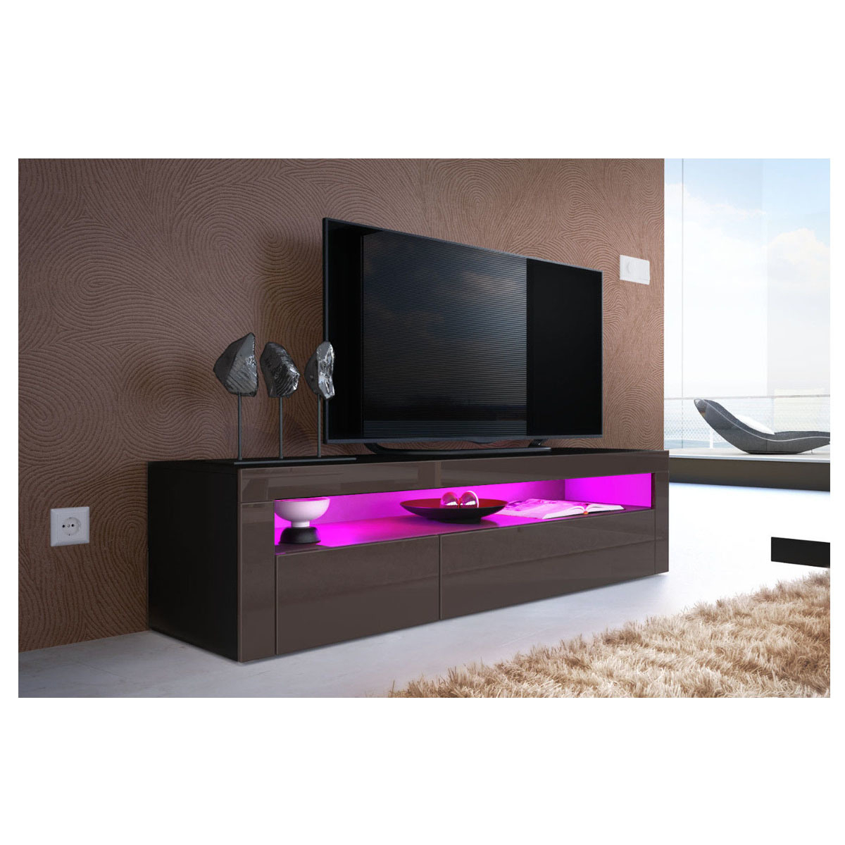 China High Gloss Uv Black Led Light Sideboard Tv Unit For 57'' Led Tv Stands Cabinet (View 3 of 20)
