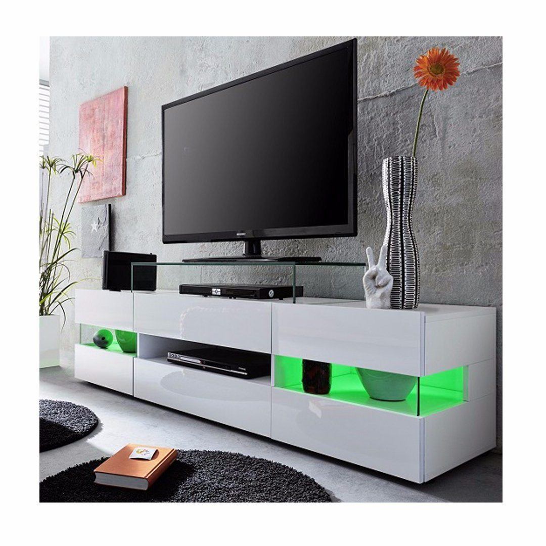 China White High Gloss Led Tv Unit Cabinet Stand – China Pertaining To Zimtown Tv Stands With High Gloss Led Lights (View 1 of 20)